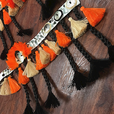 READY MADE COSTUME: MALO STYLE HIPBAND IN BLACK/NATURAL/ORANGE