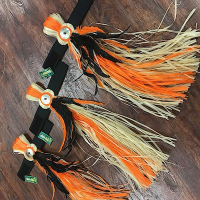 READY MADE COSTUME: TANE ARM BANDS IN NATURAL/BLACK/ORANGE