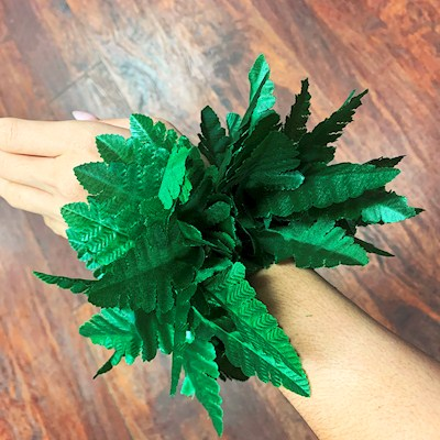 NEW ... LEATHER FERN ELASTIC WRISTLET/ANKLET