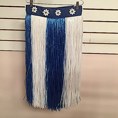 BANDED BLUE AND WHITE ARTIFICIAL SKIRT